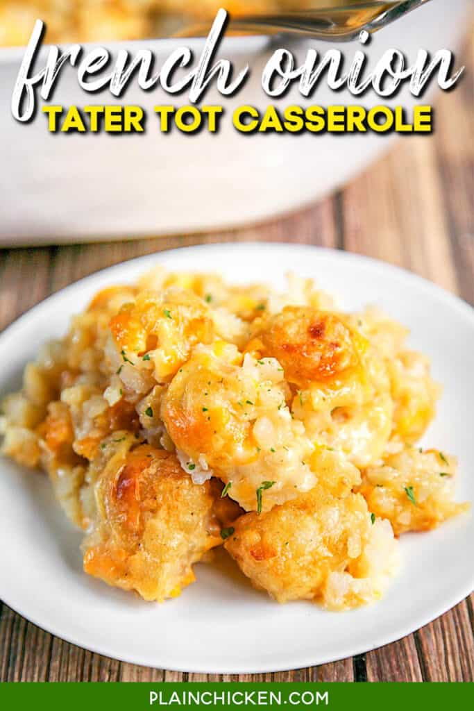 plate of tater tot casserole