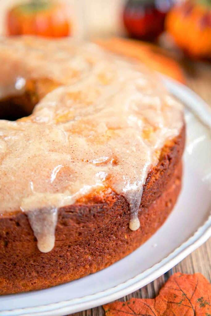 glazed pumpkin pound cake on platter