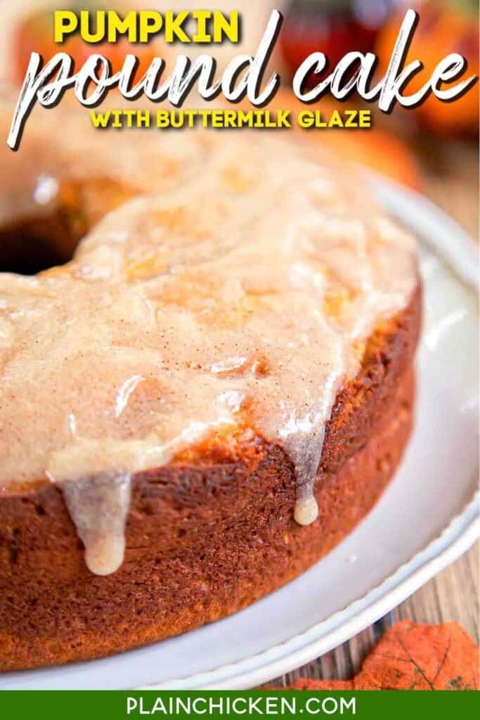 glazed pumpkin pound cake on platter