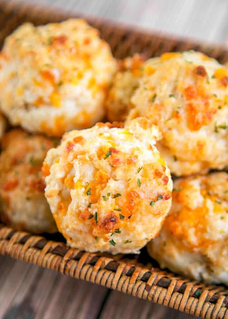 Basket of cheddar bay biscuits
