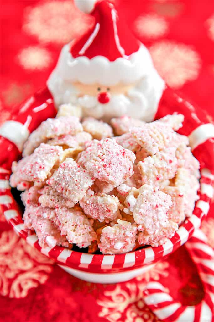 bowl of candy cane coated chex cereal
