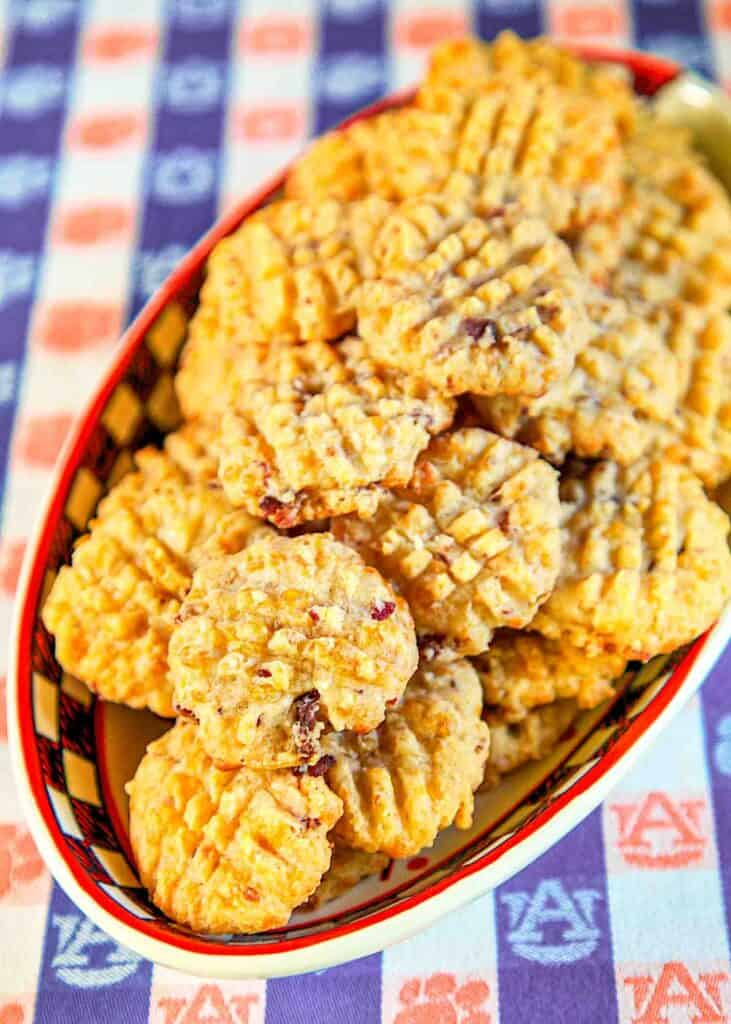 plate of bacon & cheese crackers
