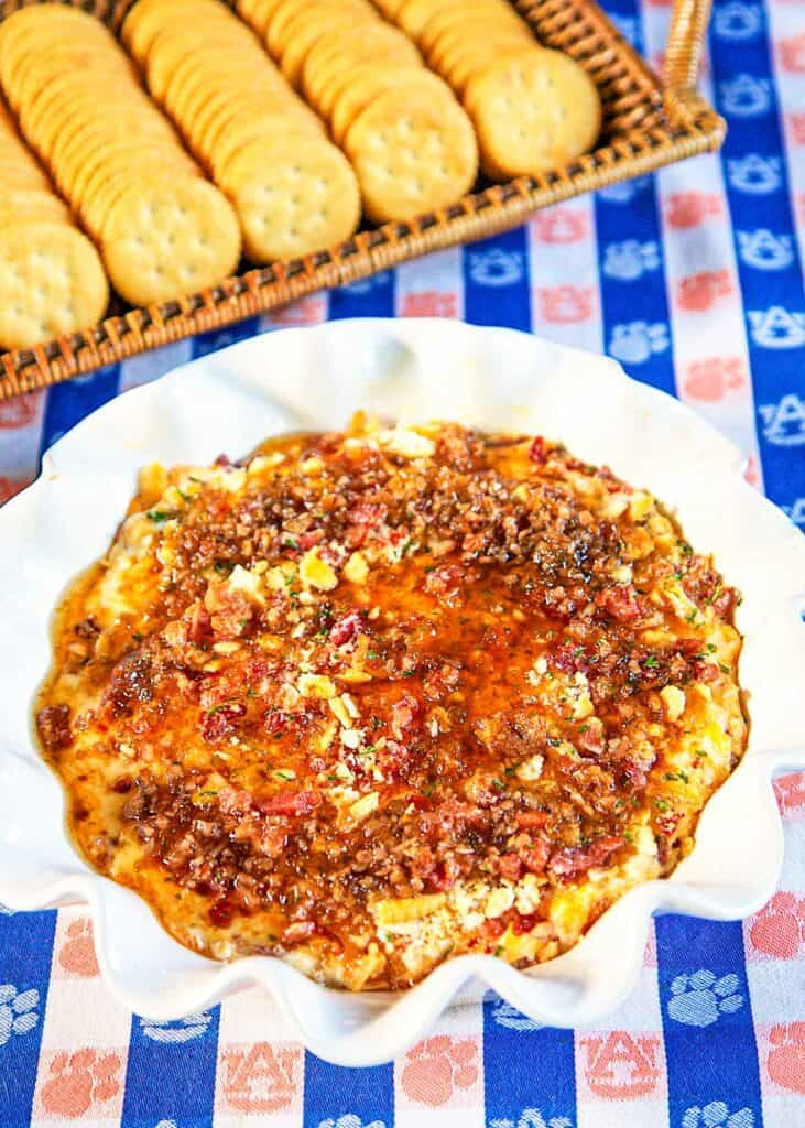 bacon pecan dip in a pie plate