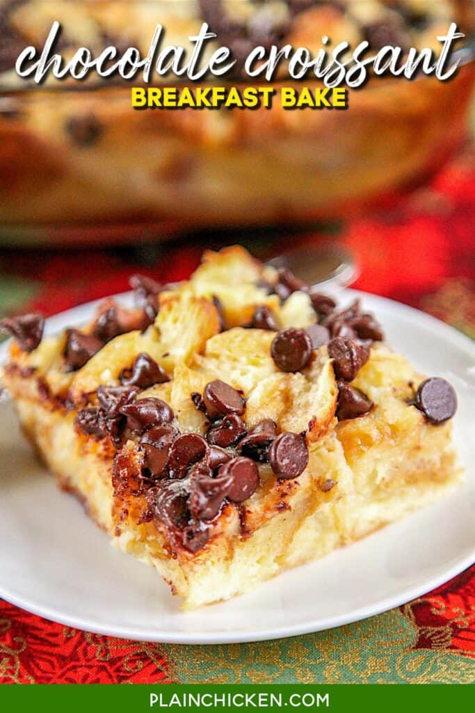 slice of chocolate chip croissant breakfast casserole on a plate