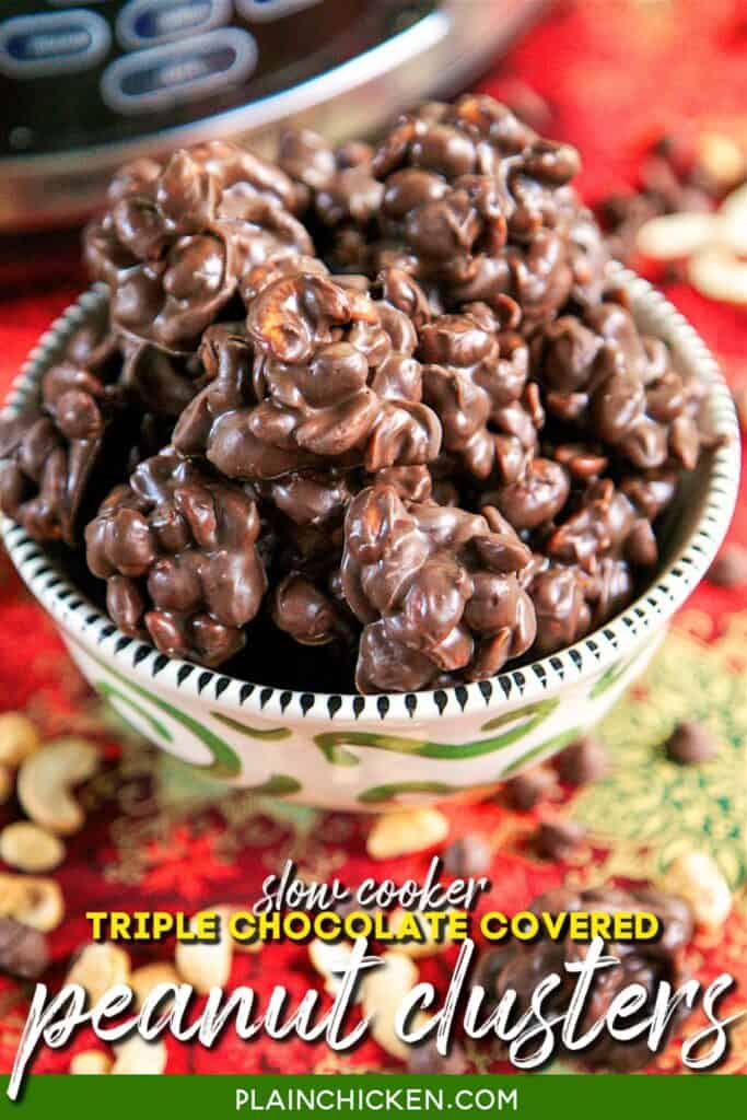 bowl of chocolate covered peanut clusters