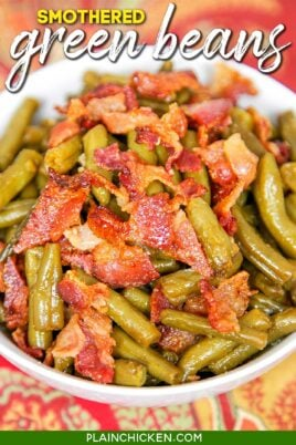 bowl of green beans and bacon