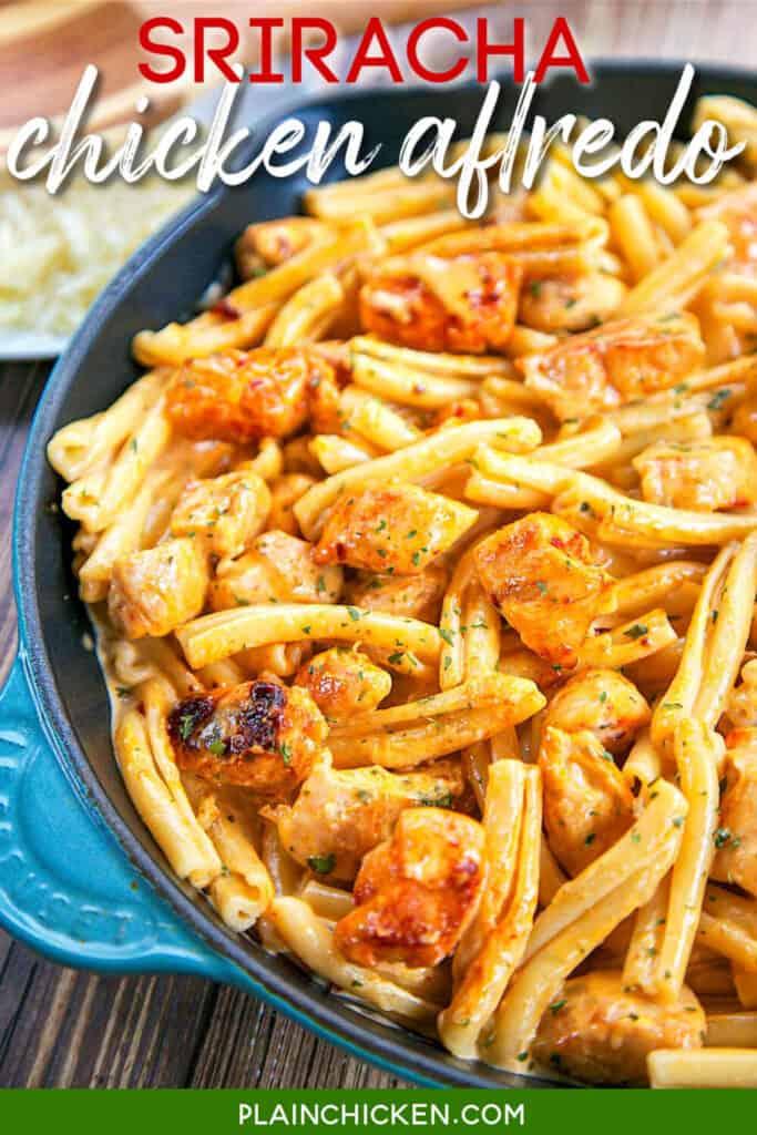 skillet of chicken alfredo
