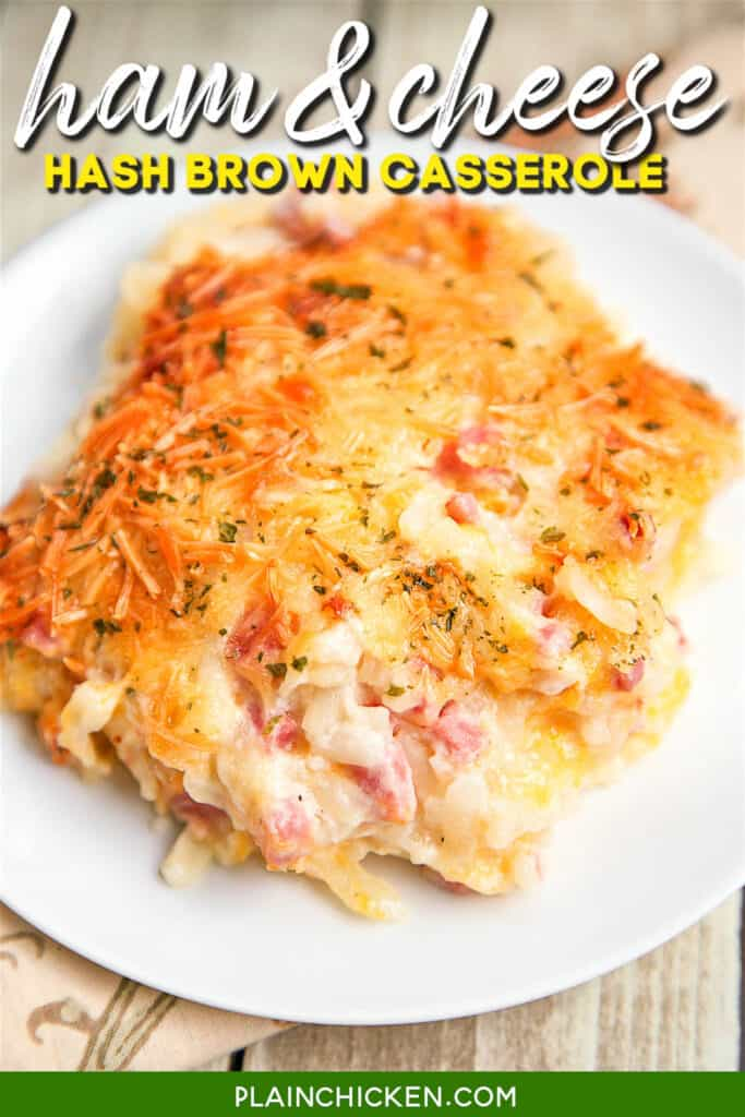 scoop ham & cheese hash brown casserole on a plate