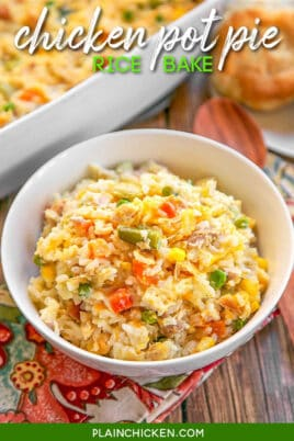 bowl of chicken pot pie rice