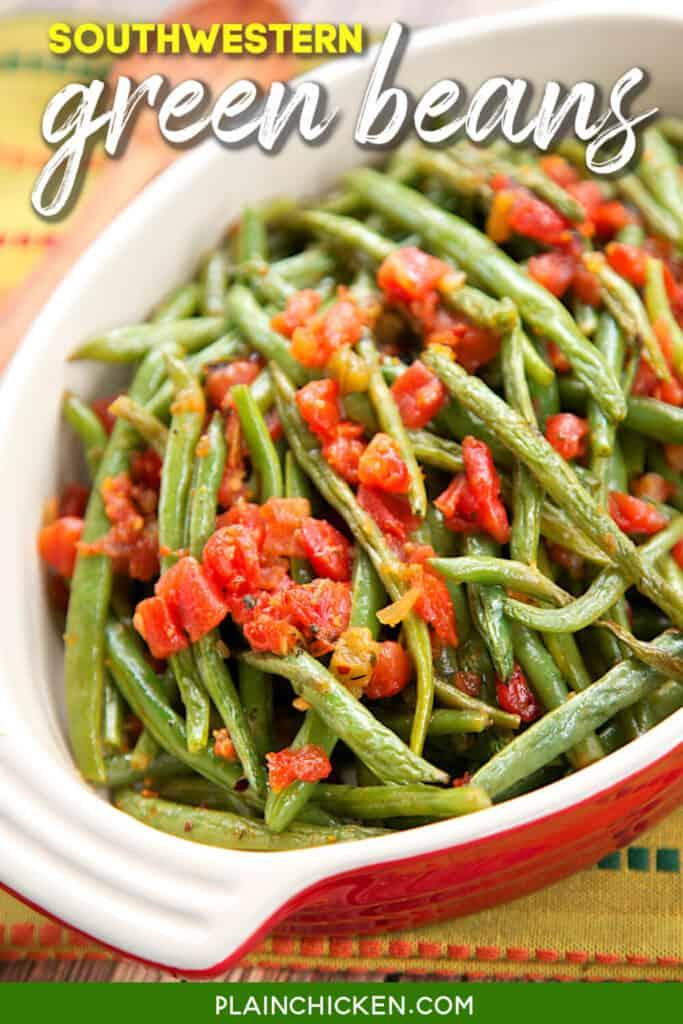 baking dish of green beans