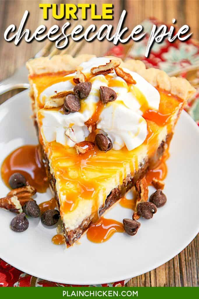 slice of turtle cheesecake pie on a plate