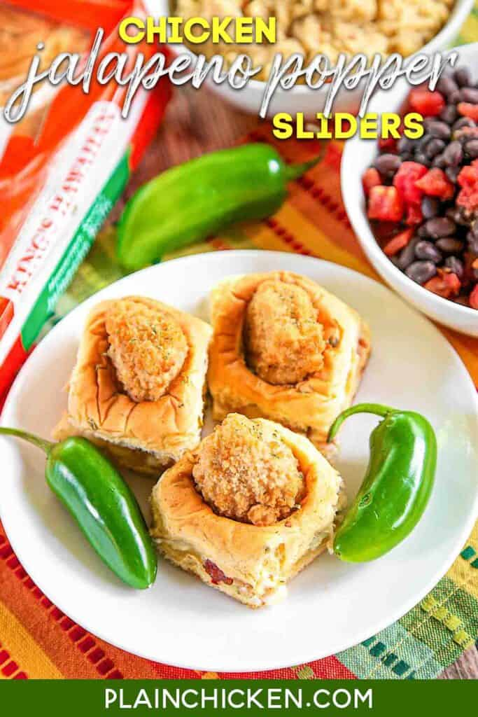 plate of chicken jalapeno popper slider sandwiches