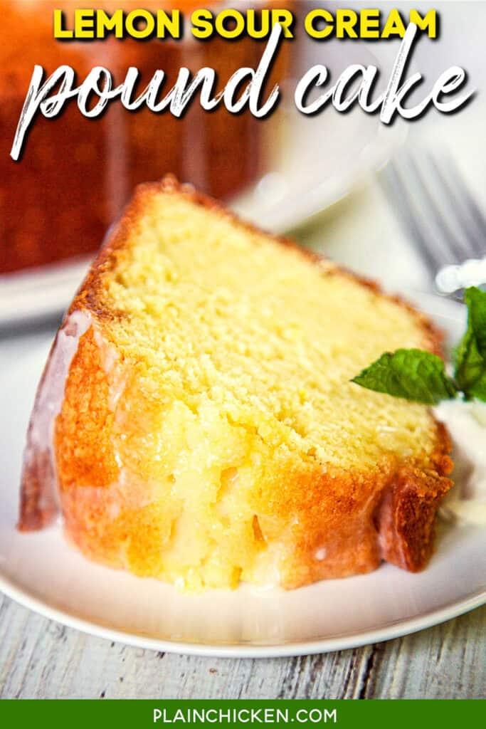 slice of lemon cake on a plate