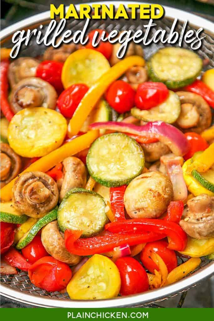grilled vegetables in a basket on the grill