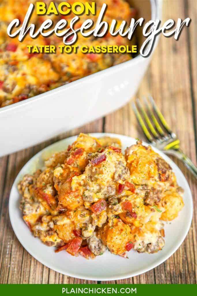 plate of bacon cheeseburger tater tot casserole