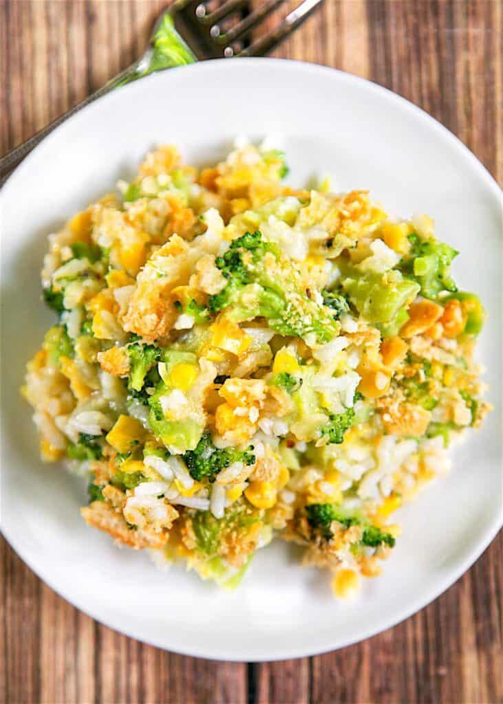 plate of corn and broccoli rice casserole