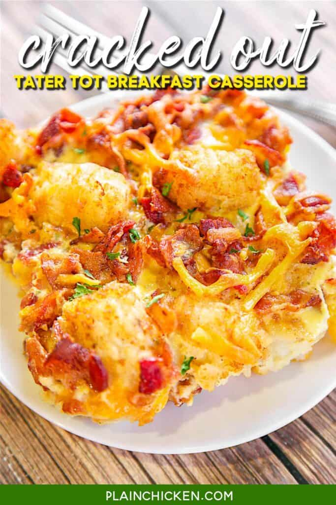 slice of cracked out tater tot breakfast casserole
