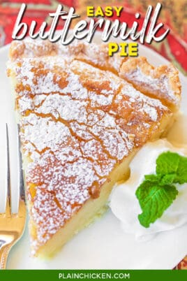 slice of buttermilk pie on a plate dusted with powdered sugar