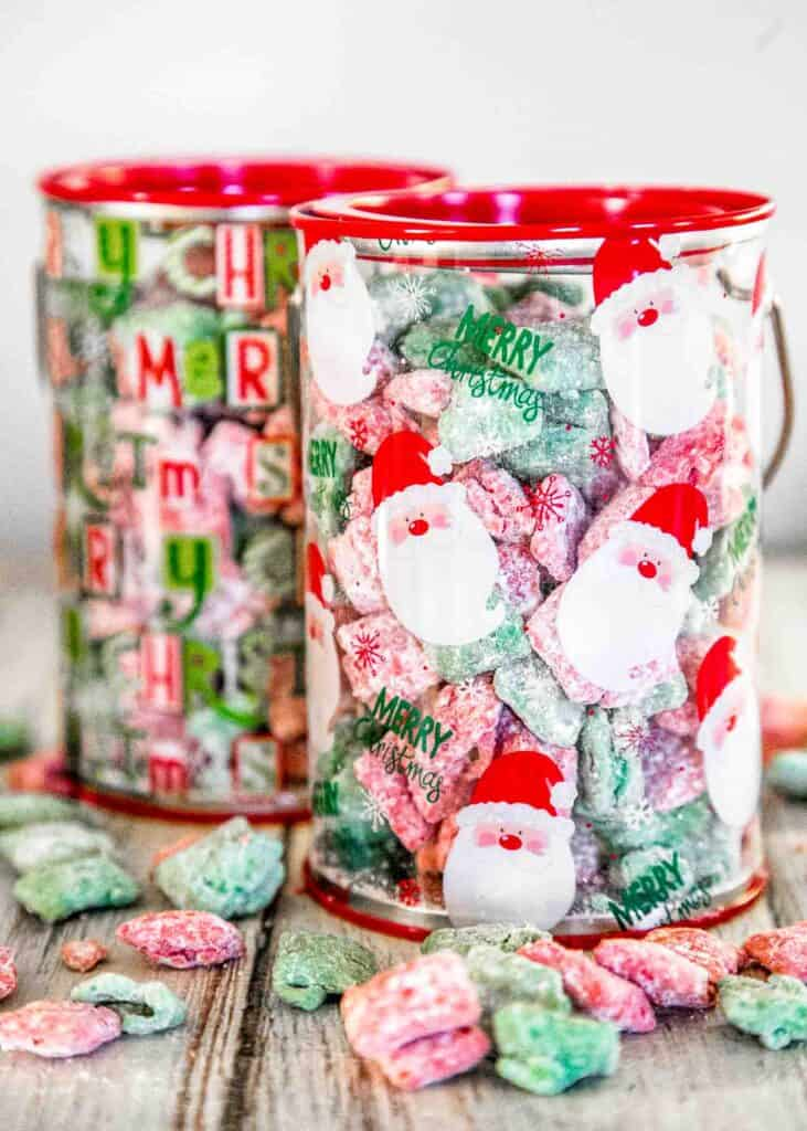red & green muddy buddies in a christmas container