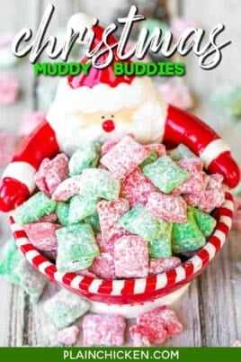 red & green muddy buddies in a santa bowl