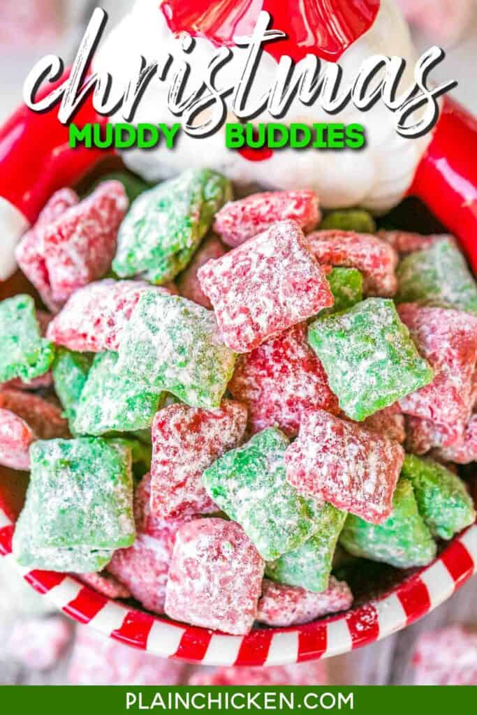 red & green muddy buddies in a santa bowl