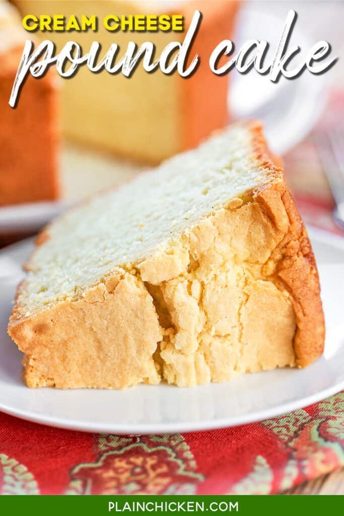 slice of pound cake on a plate