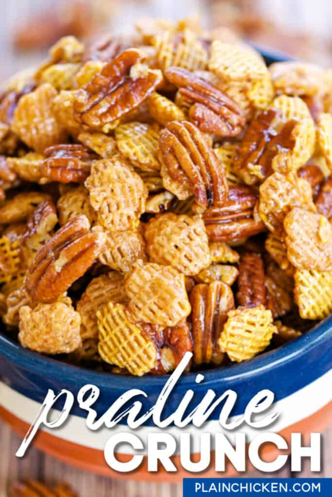 bowl of pecan chex mix