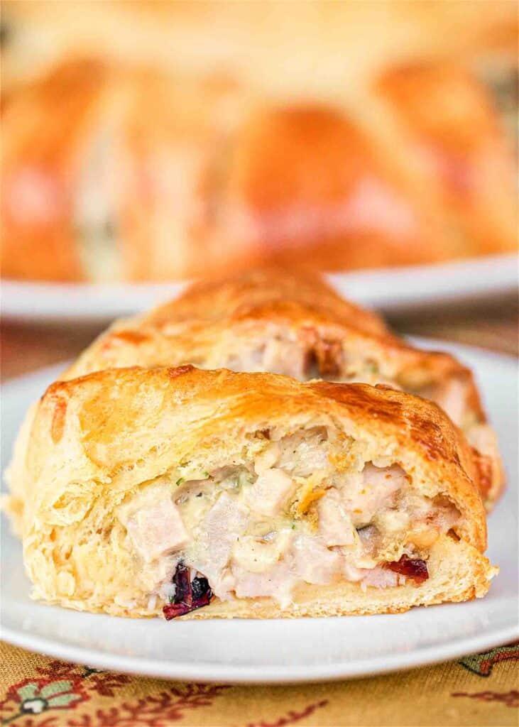slice of turkey cranberry crescent bake