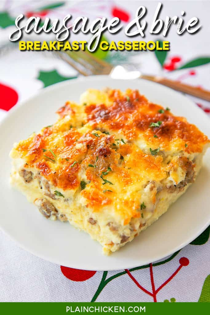 slice of sausage breakfast casserole on a plate