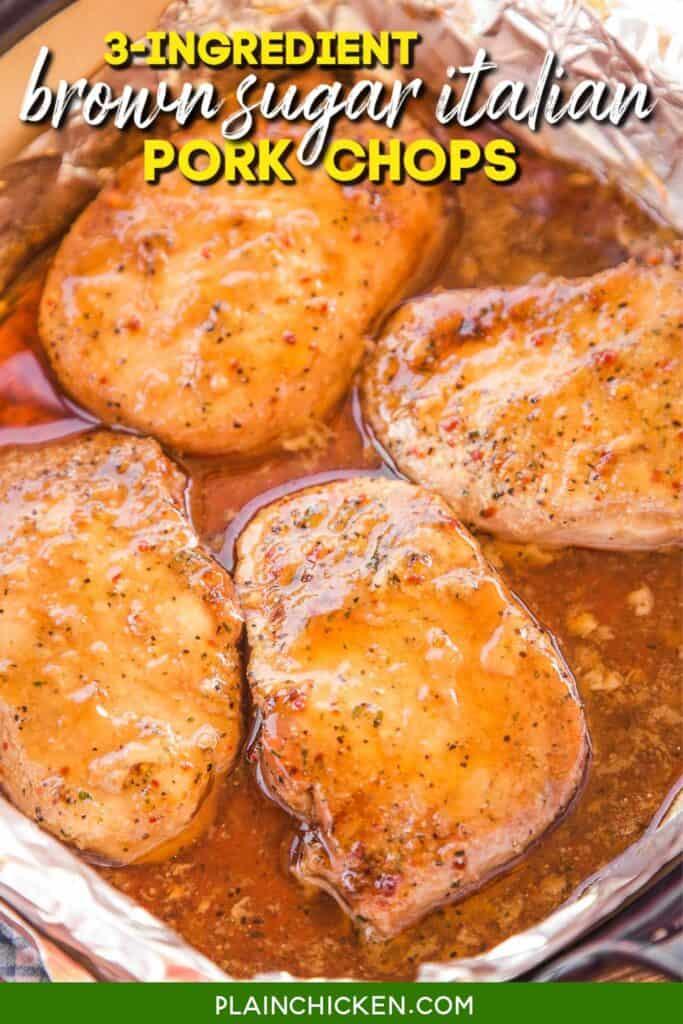 baking dish of brown sugar pork chops
