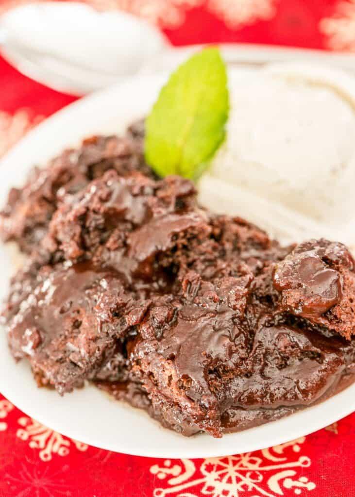 plate of chocolate lava cake with ice cream