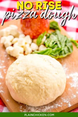 ball of pizza dough on a board