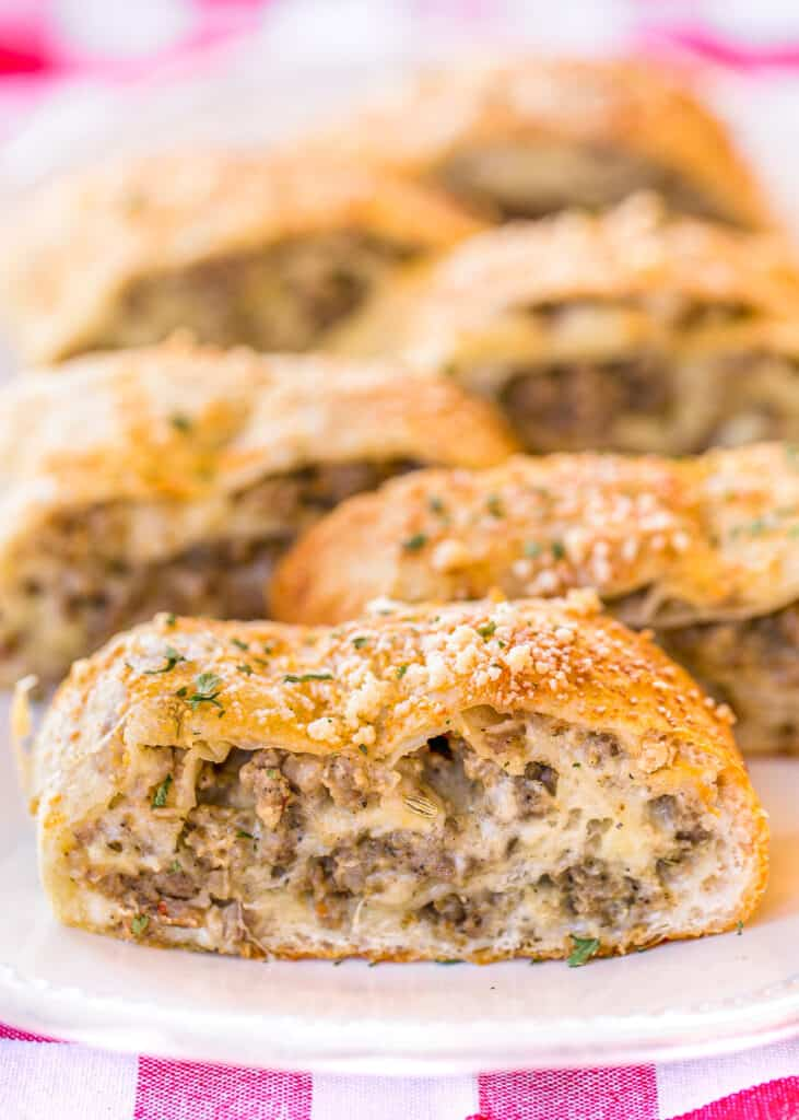 slices of stuffed sausage bread