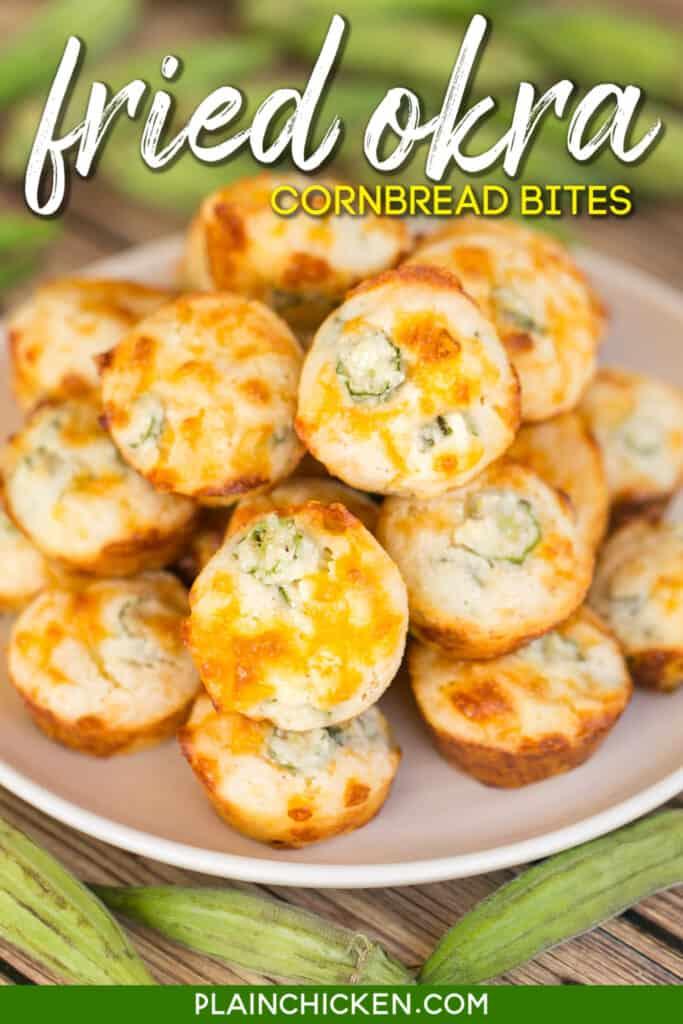 plate of okra cornbread muffins
