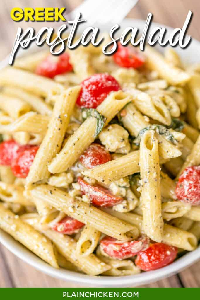 bowl of pasta salad with feta and tomatoes
