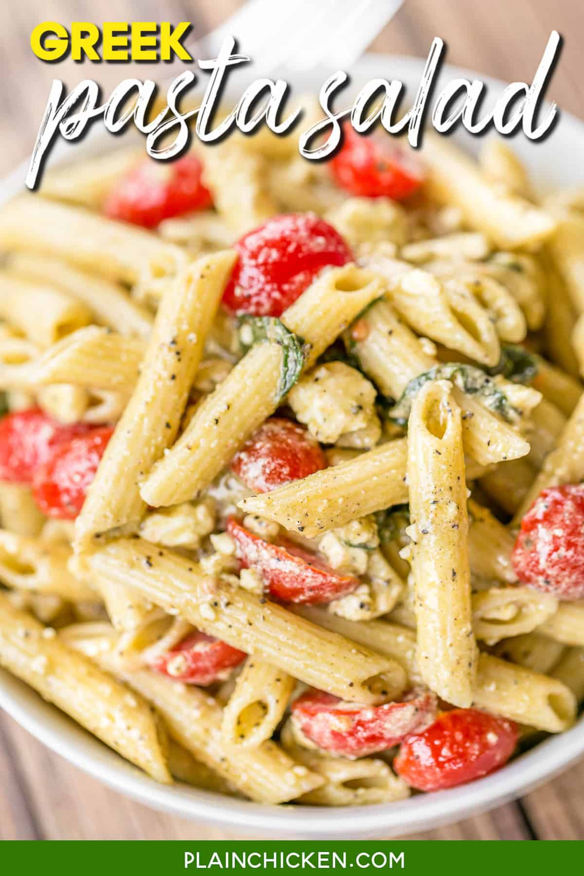 Greek Pasta Salad Plain Chicken