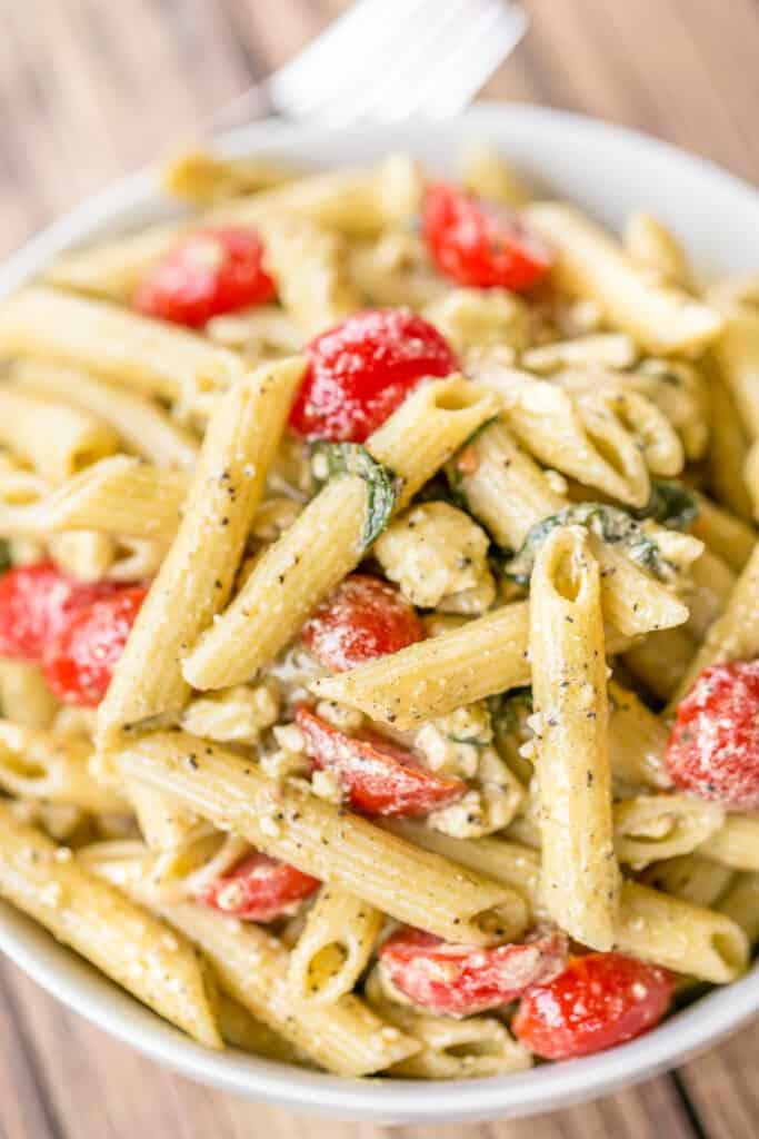 bowl of greek pasta salad with feta