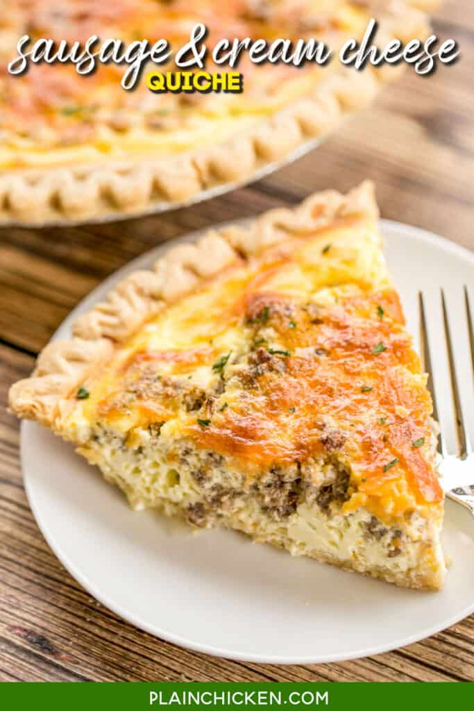 slice of sausage cream cheese quiche on a plate