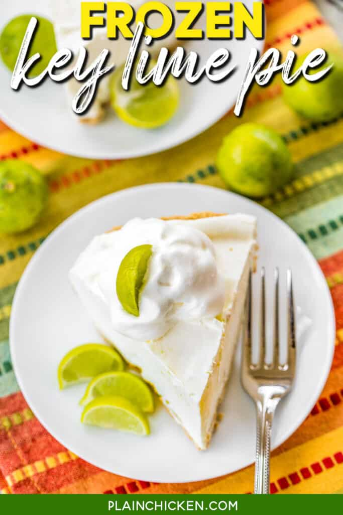slice of frozen key lime pie on a plate