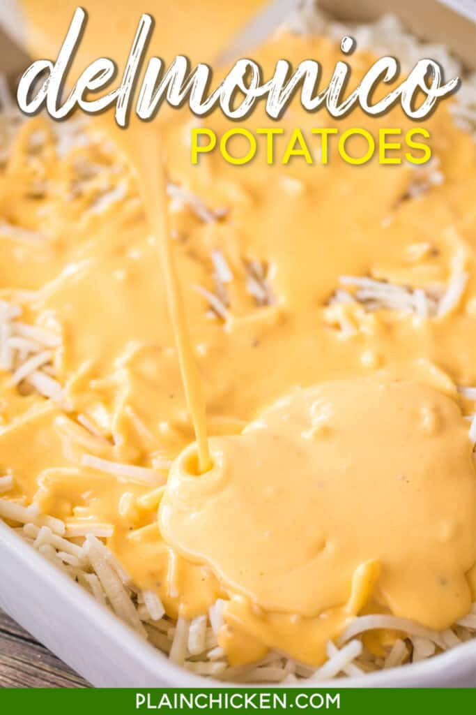 pouring cheese sauce on poatoes