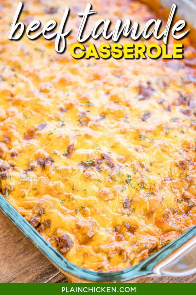 cheesy beef tamale casserole in a baking dish