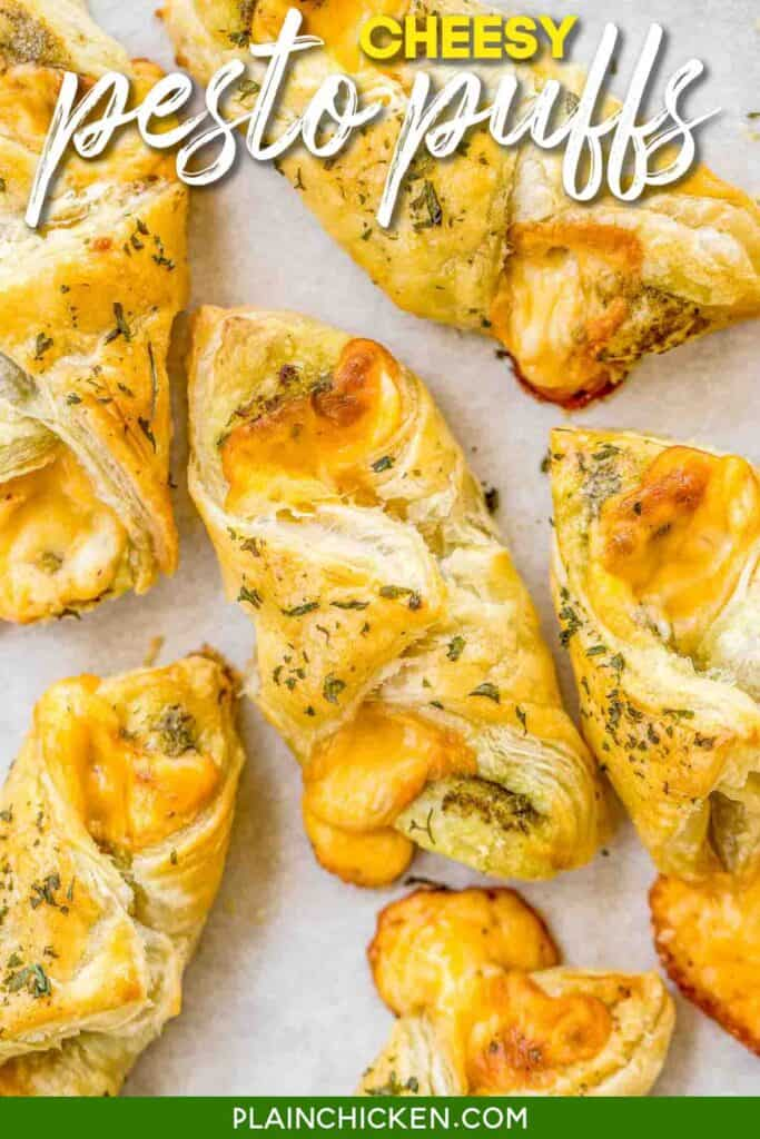 cheese pastry puff on baking sheet