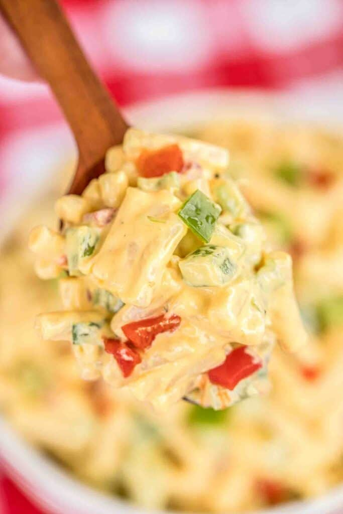 spoonful of cheesy pasta salad