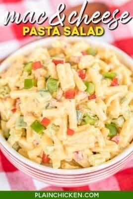bowl of mac & cheese pasta salad