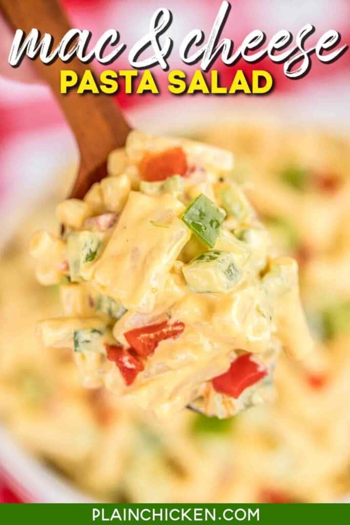 spoonful of cheesy pasta salad