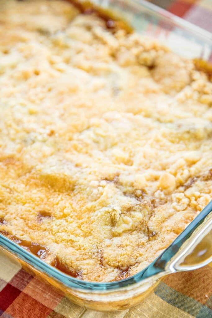 baking dish of caramel apple dump cake