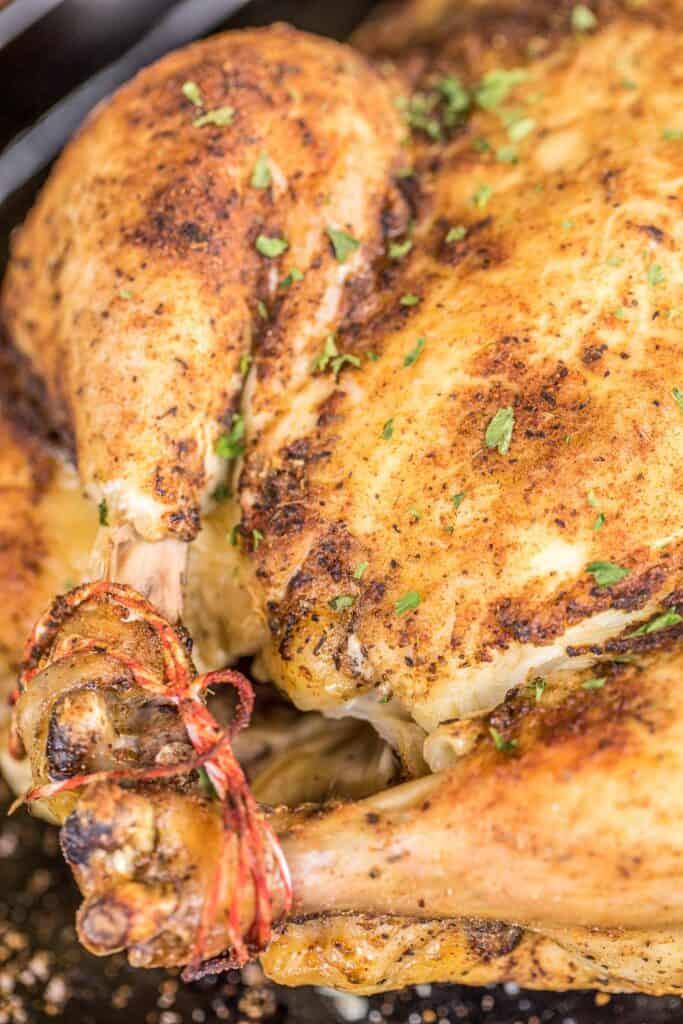 baked rotisserie chicken on a platter