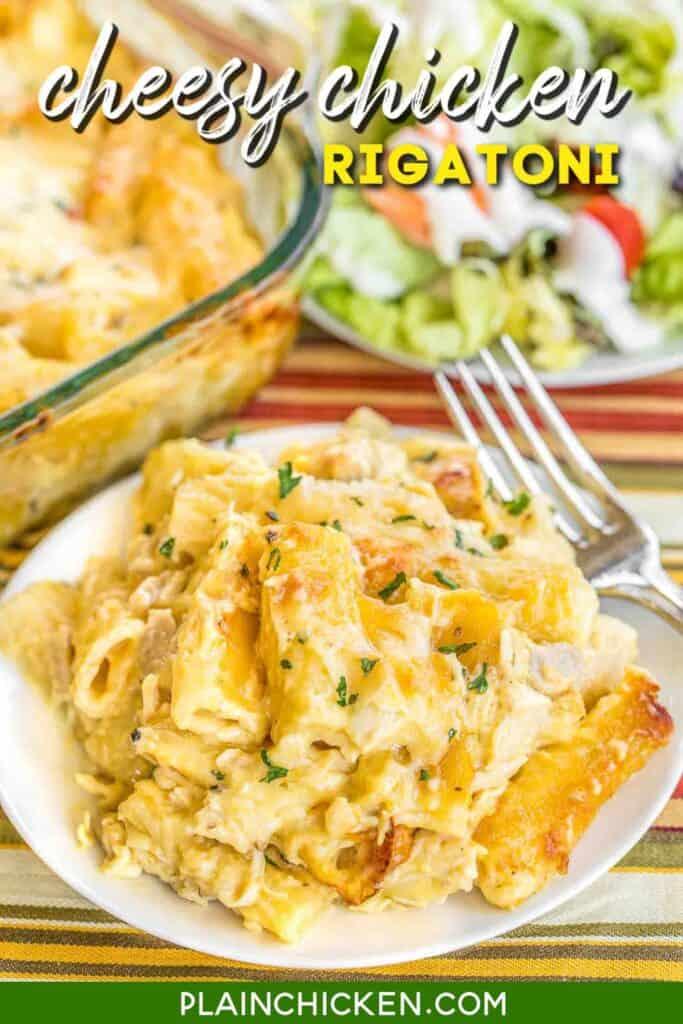 plate of cheesy chicken rigatoni casserole