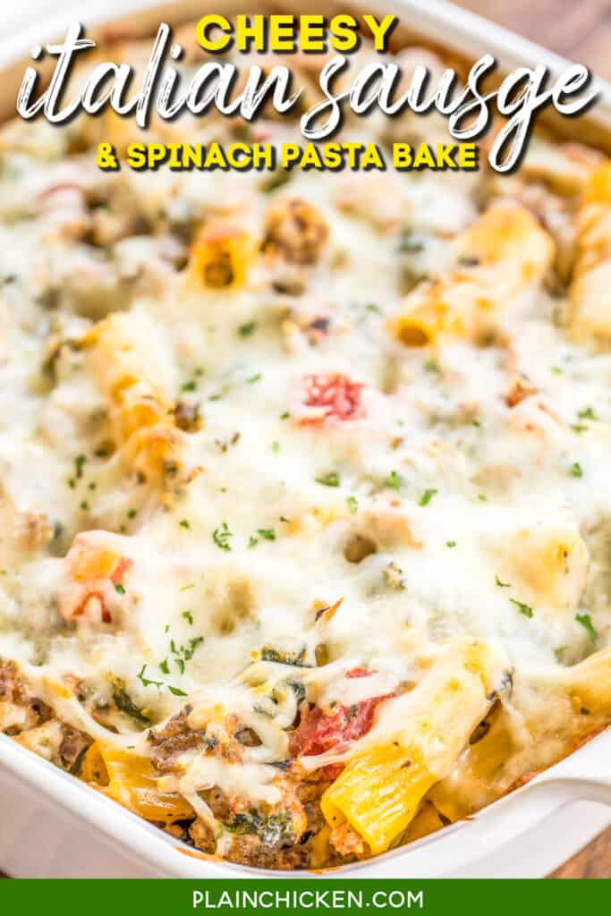 sausage and spinach pasta in a baking dish