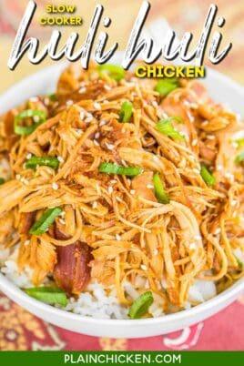 bowl of shredded huli huli chicken